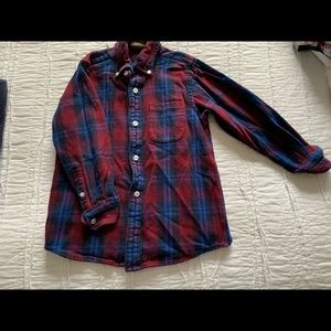 long-sleeved flannel shirt, red plaid blue sweater
